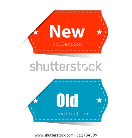Leyba with shadow old and new of collection  - stock vector