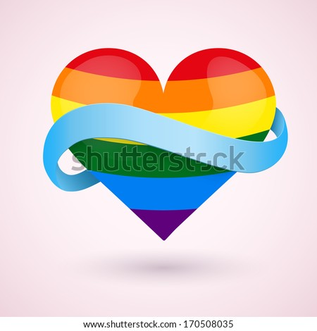 LGBT Background rainbow heart and blue ribbon. Vector illustration. Love, gay, lesbian and sexual minorities. Editable and isolated. - stock vector