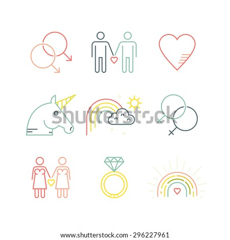 LGBT community symbols including rainbow and unicorn. Homosexual design elements. Gay pride. Same sex love. - stock vector