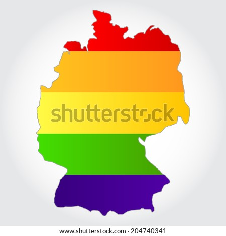 Lgbt flag in contour of Germany with light grey background. Rainbow flag in contour of Germany - stock vector