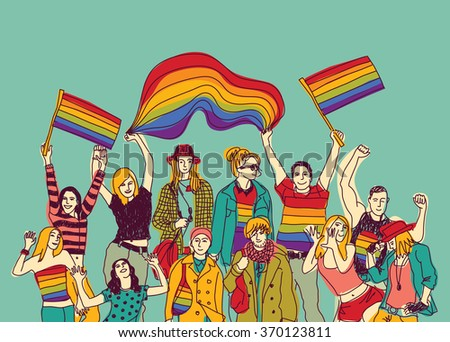 Lgbt happy gay meeting people group and sky. Color vector illustration. EPS8 - stock vector