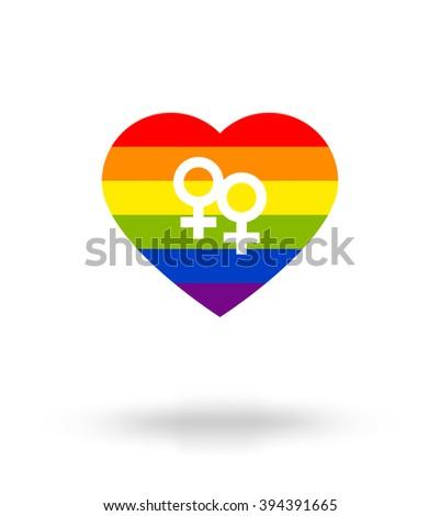 LGBT symbol, Pride, Freedom heart in rainbow colors, Mirror of Venus, love cards background, art - stock vector