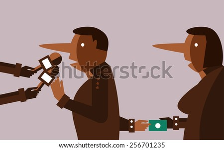 liar people interviewing and hand receiving bribes. flat design character. vector illustration - stock vector