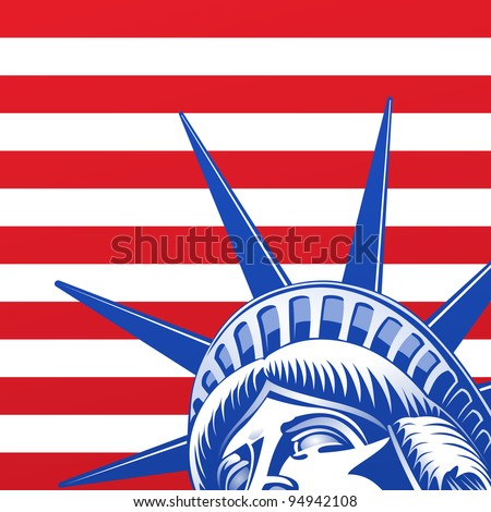 Liberty Statue Face - stock vector