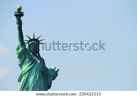 Liberty Statue in New York City - Vector image with empty space for text - stock vector