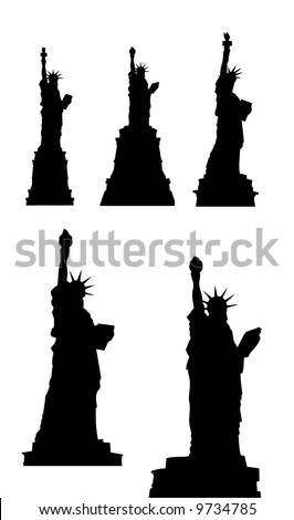 liberty statue silhouettes - stock vector