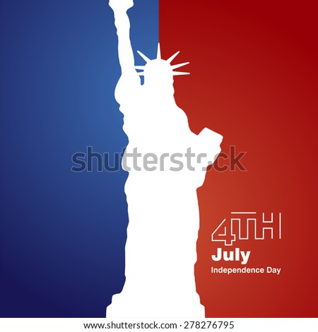 Liberty 4th July white logo blue red background - stock vector
