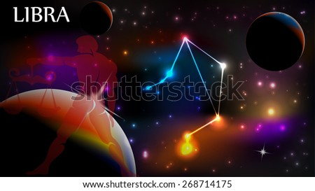 Libra - Space Scene with Astrological Sign and copy space - stock vector