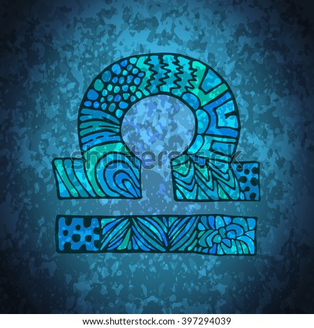 Libra zodiac sign. Zodiac zentangle sign. Zodiac symbol. Zentangle doodle zodiac. Zentangle style vector. Zodiac symbol. Libra horoscope. Libra zodiac grunge banner. - stock vector