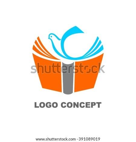Library book logo - stock vector