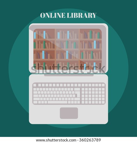 library book shelf background, row of books in bookstore vector - stock vector