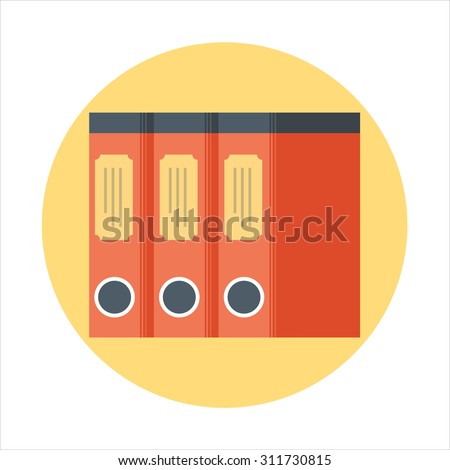 Library, documents flat style, colorful, vector icon for info graphics, websites, mobile and print media. - stock vector