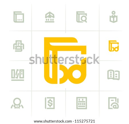 Library icons - stock vector