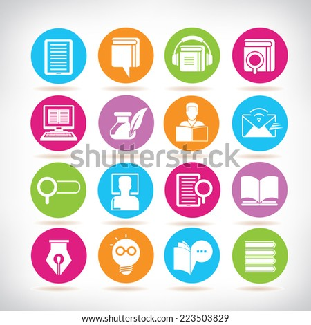 library icons, online education icons, colorful circle buttons set - stock vector