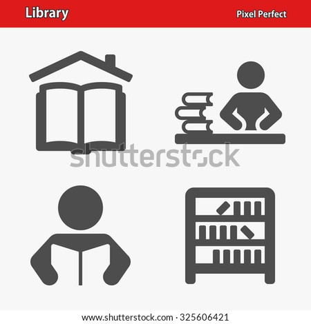 Library Icons. Professional, pixel perfect icons optimized for both large and small resolutions. EPS 8 format. - stock vector