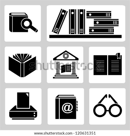 library icons set - stock vector