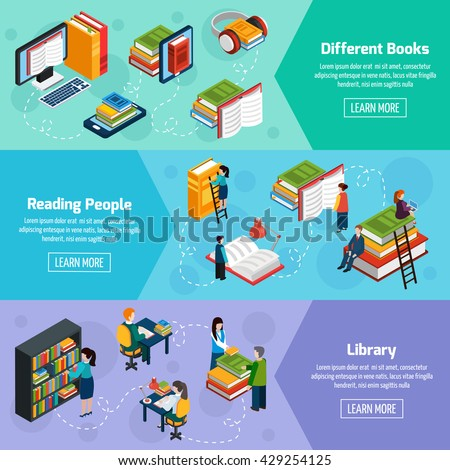 Library isometric horizontal banners with different books and reading people in fantasy style vector illustration  - stock vector