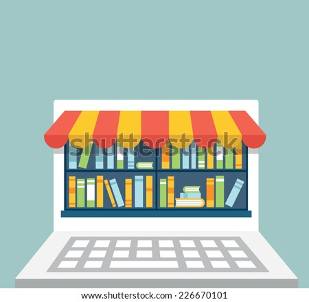Library of books for read in laptop with copy space for text. Subscription as business model - vector illustration - stock vector