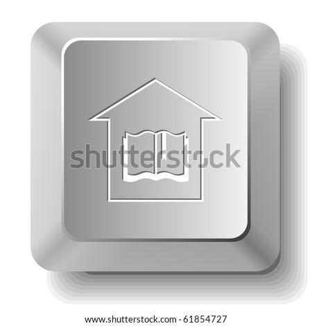 Library. Vector computer key. - stock vector