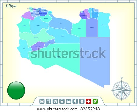 Libya Map with Flag Buttons and Assistance & Activates Icons Original Illustration - stock vector