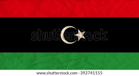 Libya  paper  flag - stock vector