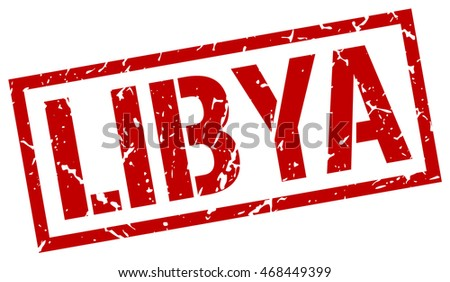 Libya stamp. red square Libya grunge stamp on white background. Libya