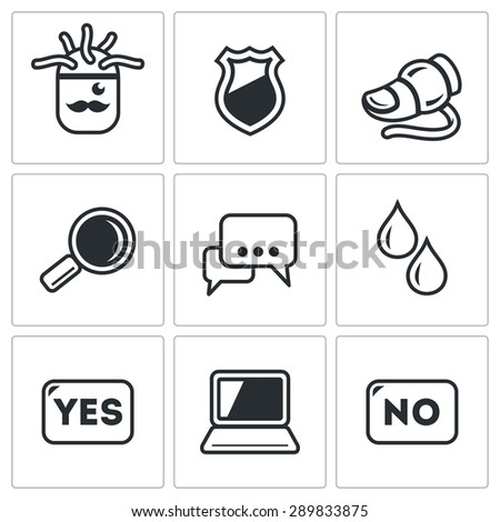 Lie detector. Check the lies and truth. Vector Illustration. Isolated Flat Icons collection on a white background for design - stock vector