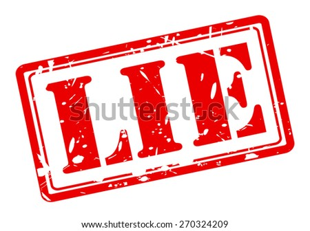 LIE red stamp text on white - stock vector