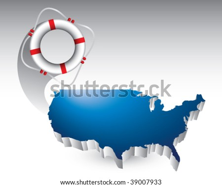 lie ring featured with the united states - stock vector
