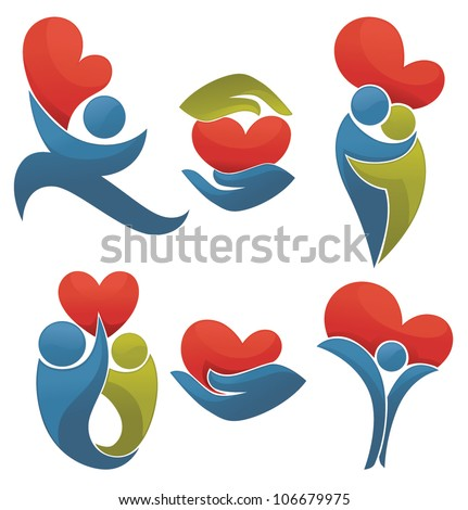 life and love, vector collection of signs, symbols and concepts - stock vector