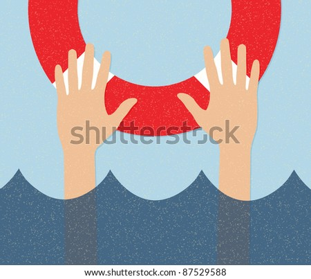 life buoy and hands in water - stock vector