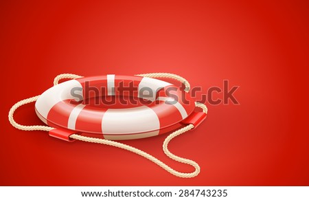 Life buoy for drowning rescue and help support on red background. Vector Illustration. - stock vector