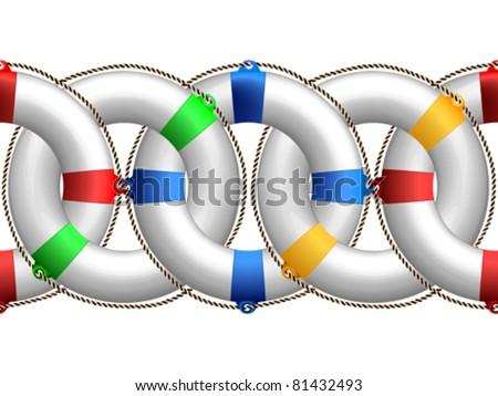 life buoy horizontal pattern, abstract seamless border; vector art illustration - stock vector