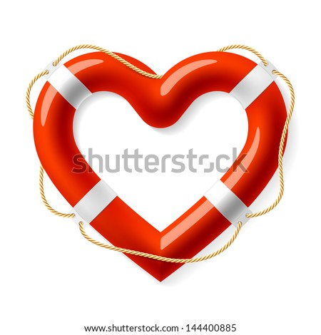 Life buoy in the shape of heart. Vector. - stock vector