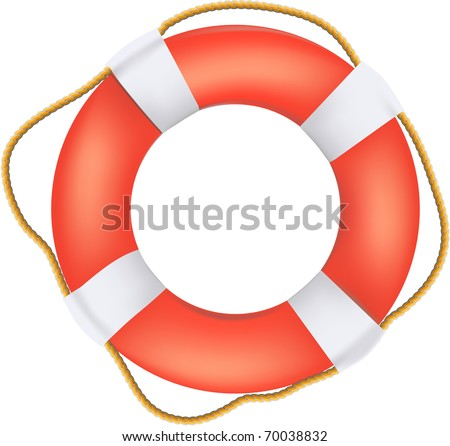 Life buoy preserver with rope - stock vector