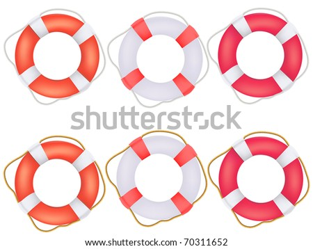 Life buoy preservers with rope - stock vector
