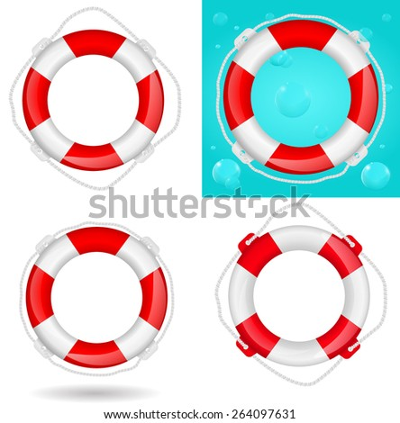 Life buoy set.     Vector illustration isolated on white background - stock vector