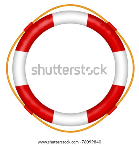 life buoy with rope - red and white lifebelt - sos help icon vector illustration - stock vector