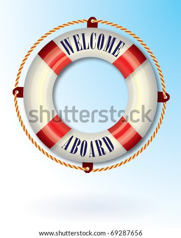 Life buoy with Welcome aboard text - stock vector