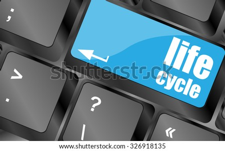 life cycle on laptop keyboard key, vector illustration