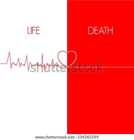 life & death, EKG red line heart illustration. Conceptual illustration of heartbeat, electrocardiogram. Vector illustration - stock vector