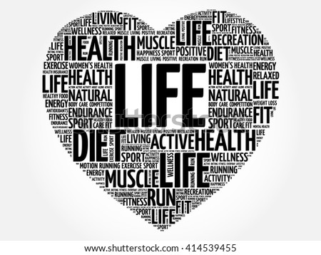 LIFE heart word cloud, fitness, sport, health concept