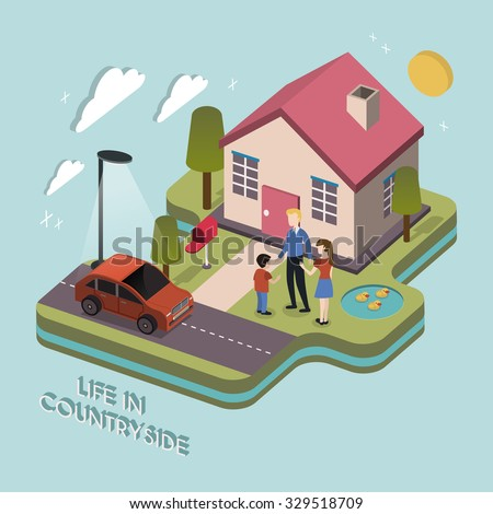 life in countryside concept in 3d isometric flat design - stock vector