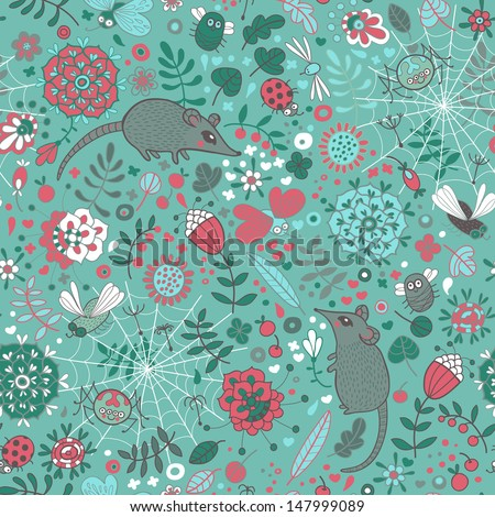 Life in the meadow. Seamless pattern with flowers, leaves, grass, mice, spiders, butterflies and other insects.