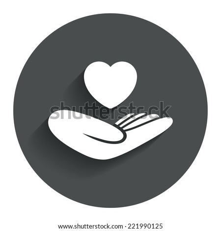Life insurance sign. Hand holds human heart symbol. Health insurance. Circle flat button with shadow. Modern UI website navigation. Vector - stock vector