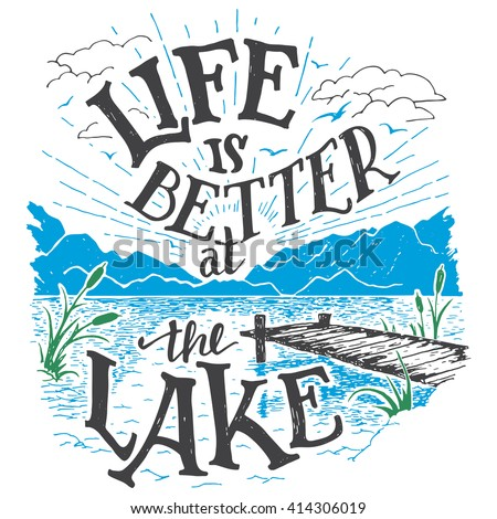 Life Is Better At The Lake House Decor Sign In Vintage Style