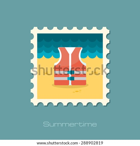 Life jacket flat stamp - stock vector