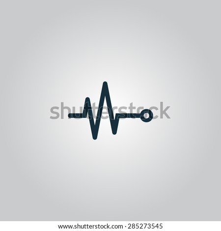 Life line - Heart beat, cardiogram. Flat web icon or sign isolated on grey background. Collection modern trend concept design style vector illustration symbol - stock vector