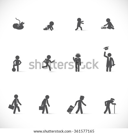 Life of one person from beginning to end, from birth to death. Short story of human in different life ages - figure set  - stock vector