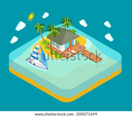 Life on tropic island privacy solitude travel concept. Flat 3d isometric land infographics icon conceptual. Water facing house palm pier lounge woman yacht boat. Web isometry infographic collection. - stock vector